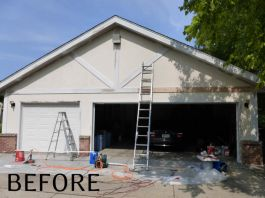 River Hills garage exterior painting and renovations