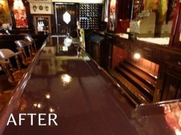 Bar after wood refinishing