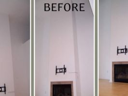 Fireplace before renovations in Whitefish Bay